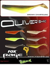 8 Stück Fox Rage Quiver Shad NSL 024 Brown Chartreuse