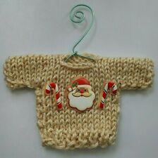 Tan Santa themed  Mini   Christmas Sweater  Ornament