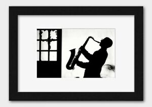 Jazz Musician - Playing Saxophone in Silhouette 1980s Print