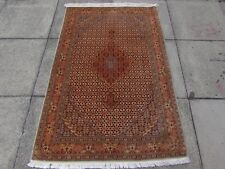 Fine Old Traditional Hand Made Persian Rug Wool Silk Beige Brown Rug 152x101cm
