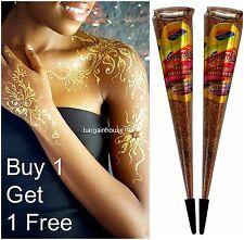 IMPORTED GOLDEN GLITTER Sparkly Body Art Glitter Gel Cone/ Henna Tattoo Decorate