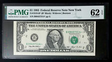 1993 $1 *Star* Federal Reserve Note - Misaligned - Pmg #62 Epq Uncirculated