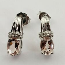 With Pink -morganite Color-stones And Diamonds New listing 14 Karat White Gold Earrings