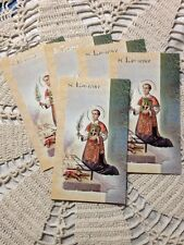 """""""ST. LAWRENCE"""" LAMINATED Gold Imprinted Detail Prayer card Lot/5 Beautiful NEW"""