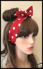 Red Polka Dot Headband Bandana Hairband Hair Tie Band Scarf Minnie Mouse Dress