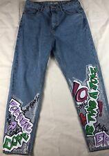 Topshop Women Glitter Graffiti Mom Jeans High Waisted Light Size 30 W30 L30