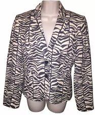 Calvin Klein Ivory Black Zebra Print Lined Rayon Blen Jacket Blazer 6