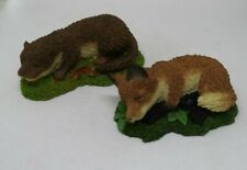 Two Little Sleeping Animal Ornaments Otter and Fox