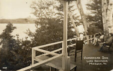 MORGAN, VT ~ Richardson RPPC 489 ~ PORCH on the OUANANICHE INN ~ 1938