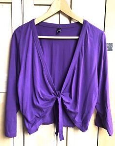 Ladies Yoek Cardigan Size Large Fits Uk 18 20 Jersey Purple Cover Up Bolero