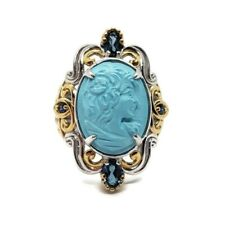 Michael Valitutti Sterling Silver Turquoise Cameo London Blue Topaz Ring Sz 6.75