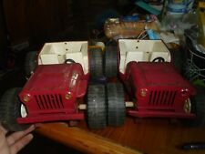 2X Vintage 1970's Red Tonka Pressed Steel Jeep Dune Buggy Toy