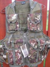 Tactical Assault Vest In Vegetato Woodland Camo 8 Pouches, Holster, NEW