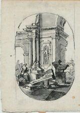 DESSIN ANCIEN - ECOLE ITALIENNE XVIIIème ENCRE ET LAVIS SUR PAPIER VERGE 15 X 11