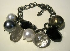 Lovely bronze tone chain bracelet with large various designs beads