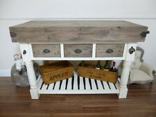 Large Farmhouse Butchers Block Bench In White & Weathered Oak Finish