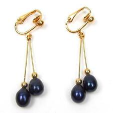 Genuine AAA Black Pearl 18K YGP Double Dangle Clip On Earrings