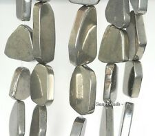 18MM-25MM IRON PYRITE GEMSTONE  GRADUATED SLICE NUGGET LOOSE BEADS 15.5""