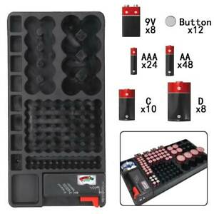 with Tester-Battery Rack Case Box 98 Grids Battery Storage Organizer Holder