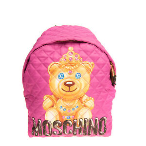 RRP €450 MOSCHINO COUTURE ! Quilted Backpack Large Teddy Bear Print Zip Closure