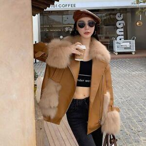 Women Winter Warm Coat Sheepskin Leather Jacket Fur Collar Cuffs Parka 3XM3645