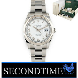 Rolex Datejust 41 White Roman Dial Oyster Oct 2021 Steel 126334 Fluted WG