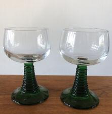 "Luminarc France Wine Cordial Glass Roemer Green Beehive Stem 4.5"", Set Of 2"