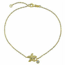 Bling Jewelry Gold Plated 925 Silver Nautical Starfish Anklet CZ Charm 9in