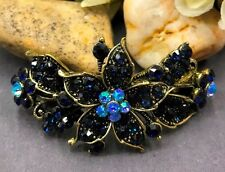 Beautiful antique blue rhinestone crystal flower hair barrette clip 6106a