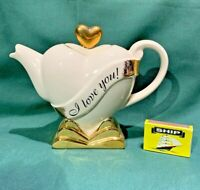 swineside teapottery i love you heart shaped  teapot bnib