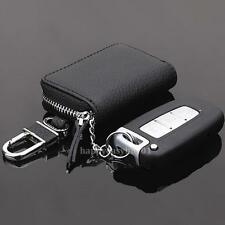 Auto Car Key PU Leather Case Pouch Remote Keychain Key Bag Storage Holder Black