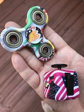 2pcs/Set Camo Color Fidget Spinner And US Flag Cube , US Seller , Rare Style .