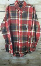 Ivy Crew Mens Size Medium Flannel Long Sleeve   Button Down Red Shirt, Plaid