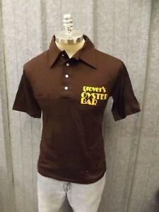 Vintage Grover's Oyster Bar UNWORN Brown 50/50 Short Sleeve Polo Shirt Mens Sz M