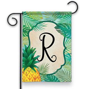 """Palms Monogram R Garden Flag Double Sided Spring Pineapple Letter R 12.5"""" x 18"""""""