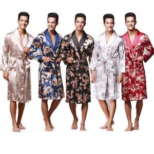 UK Mens Satin Silk Pajamas Kimono Bathrobe Robe Dressing Gown Pjs Loungewear New