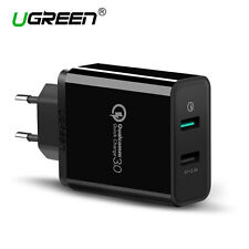 Ugreen Quick Charge 3.0 Dual USB Wall Samsung Charger EU Adapter 12V for HTC LG