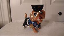 "COCKER SPANIEL DOG CHRISTMAS ORNAMENT GLASS,  DRESS AS POLICEMAN, 4 3/4"" X 5"" TA"