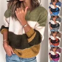 ZANZEA Women Long Sleeve Stripe Sweaters Knitted Knitwear Loose Jumper Tops Plus
