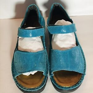 Naot Teal Blue Leather Sandals Size 40 Orthotics Friendly Comfort