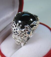 Peacock Ring SPINEL, SAPPHIRE & GARNET 21.15 CTW #6.5 WHITE GOLD over 925 SILVER