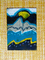 ACEO original pastel painting outsider folk art brut #010276 abstract surreal