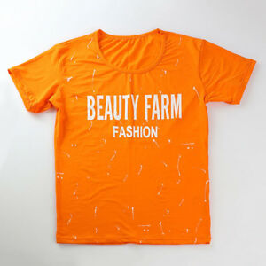 Sporty Letter Printing Tee With Short Pants - Orange