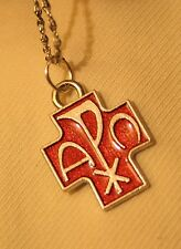 Handsome Small Red Enamel Chi Rho Cross Alpha Omega Silvertn Pendant Necklace