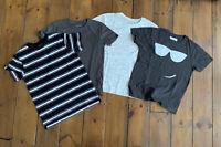 Boys NEXT Age 8 Years T-Shirt x 4 - BUNDLE Short Sleeve Grey Black Stripes