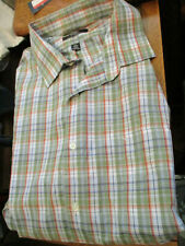 NWT MENS DOCKERS  NO WRINKLE L/S DRESS SHIRT GREEN PLAID-2X /18 18.5 34/35