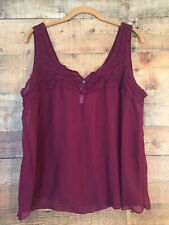 Aeropostale Women's Sheer Tank Top Blouse Jr Size XL Burgundy Lace Yoke Detail