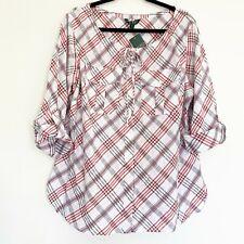 Lauren Ralph Lauren NWT Size 1X Women's Plaid Top Blouse Adjustable Sleeves