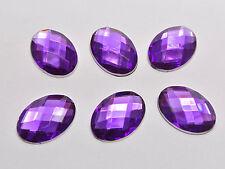 100 Dark Purple Flatback Acrylic Rhinestone Oval Gems 13X18mm No Hole
