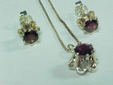 SET STERLING GARNET PIERCED EARRINGS AND NECKLACE BUTTERCUP SETTING